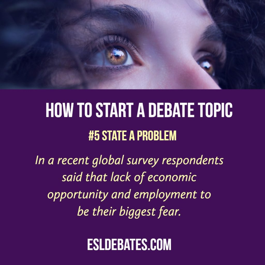 how to start a debate. state a problem