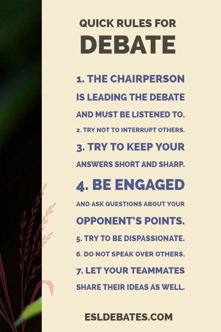 quick rules for debate. debate guide. TEFL ESL EAL EAP