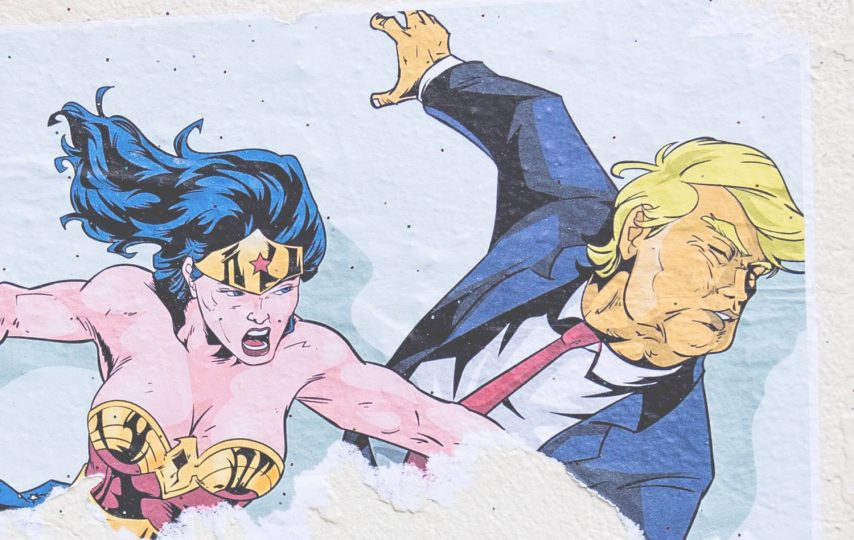 cartoon donald trump punched by wonder woman